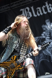 Zakk Wylde of Black Label Society listens for the crowd reaction